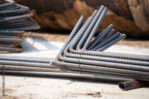 Stampa su Tela curved reinforcements steel bars in construction site