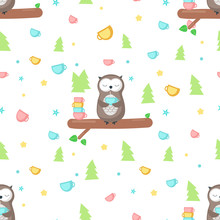 Vector Seamless Pattern With Cute Owl Having Tea
