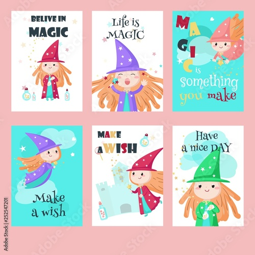 Stampa su Tela Vector set of cards with cute little enchantresses