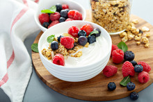Plain Yougurt With Granola And Berries On Side, Fresh, Healthy And Colorful Breakfast