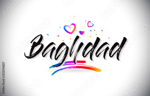 Fotografija  Baghdad Welcome To Word Text with Love Hearts and Creative Handwritten Font Design Vector