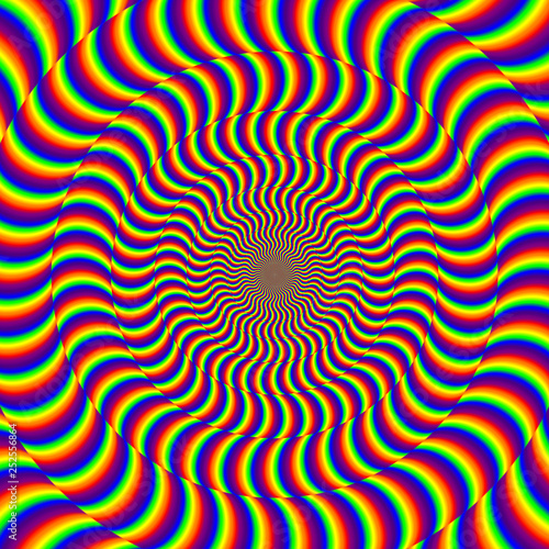 Naklejka premium Psychodeliczne tło złudzenie optyczne spin.