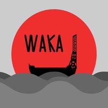 New Zealand Traditional Canoe. Waka Vector Illustration.