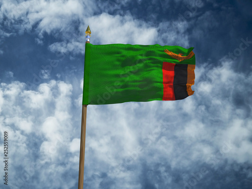 Zambia flag Silk waving flag of Zambia made transparent