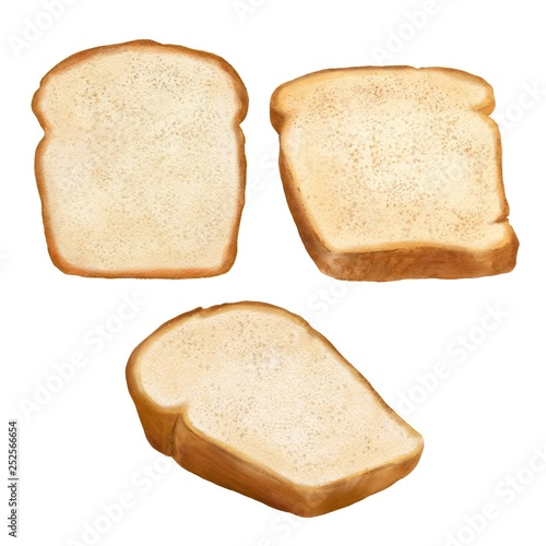 Hand drawn watercolor slices of bread isolated on white background Billede på lærred