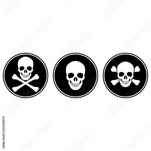 фотография Skull and crossbones icon or button