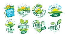 Logo Fresh Food From The Farm. Vector Illustration On White Background