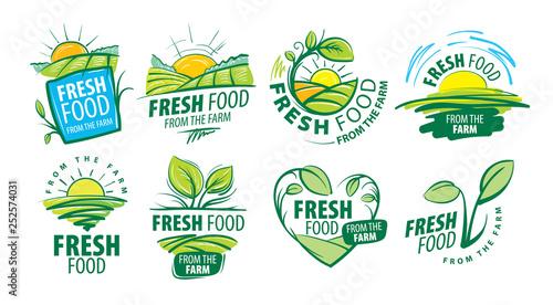Fototapeta Logo fresh food from the farm. Vector illustration on white background obraz