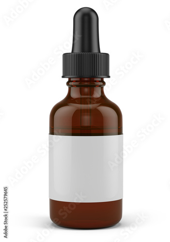 Photo  Small Dropper Bottle with a pipette and blank white label - 3d rendering mock-up template