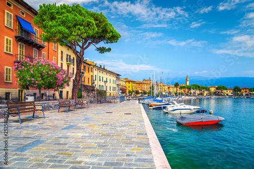 Canvastavla Promenade with colorful mediterranean oleander flowers, Toscolano-Maderno, Italy