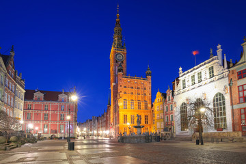 FototapetaBeautiful architecture of the old town in Gdansk at night, Poland