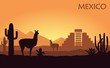 Stylized landscape of Mexico with a llama, cactuses and ancient pyramid.
