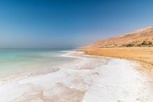 White Salt Crystals At Dead Sea Shore, Middle East, Jordan
