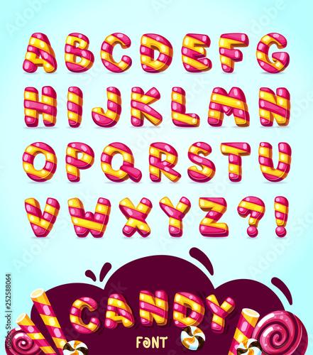 Candy cartoon font. Vector strips bubble letters set