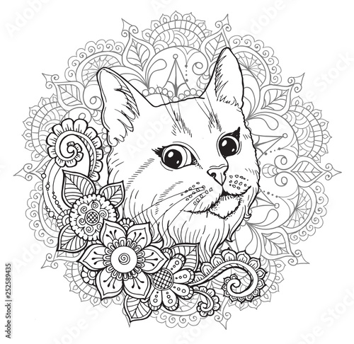 obraz PCV the cat and the mandala. coloring book.