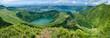 canvas print picture - Blick vom Parque Lagoa do Canario auf Sete Cidades auf der Azoreninsel São Miguel (Azoren)