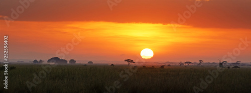 Fotobehang Baksteen Sunrise in Amboseli National Park