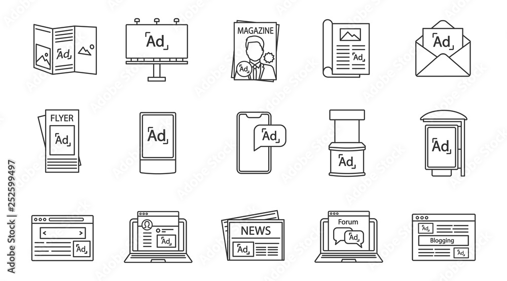 Fototapety, obrazy: Advertising channels linear icons set