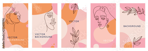 Vector set of abstract creative backgrounds in minimal trendy style with women f Canvas Print