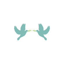 Two Blue Doves With Green Olive Sprig On White Background. Peace Vector Illustration.