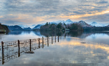 Winter Sunset Over Derwentwater
