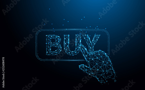 Hand touching Buy Button from lines, triangles and particle style design. Illustration vector