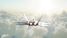 Jet F22 Fighter Flying Over Clouds . War And Weapon Concept. Realistic 4k Anima