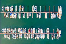 Aerial View Of Yachts In The Marina