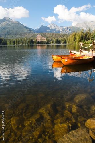 Photo  Crystal clear water of Mountain lake Strbske pleso.