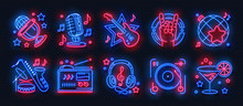 Neon Party Icons. Dance Music ...