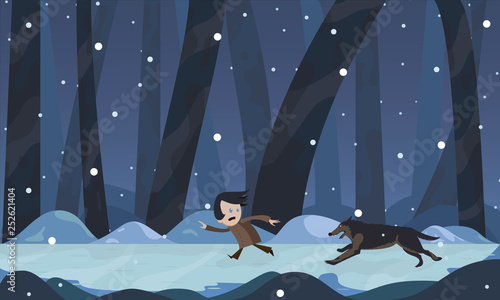 The boy runs away from the wolf at night in the woods in winter Canvas Print