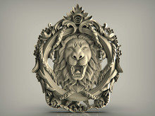 Lion Head Knocker On Wooden Door