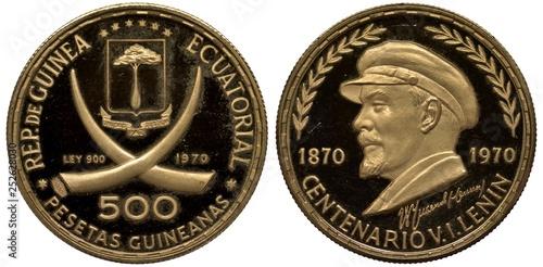Fotografía  Equatorial Guinea Guinean golden coin 500 five hundred pesetas 1970, subject Vla