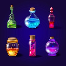 Set Of Realistic Magical Bottl...