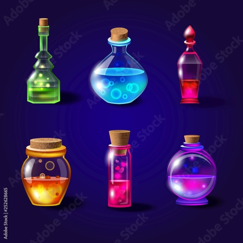 Photo Set of realistic magical bottles with poison
