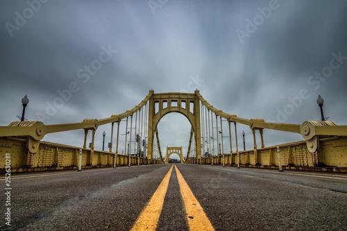 Yellow suspension bridge in Pittsburgh Pennsylvania. Wallpaper Mural