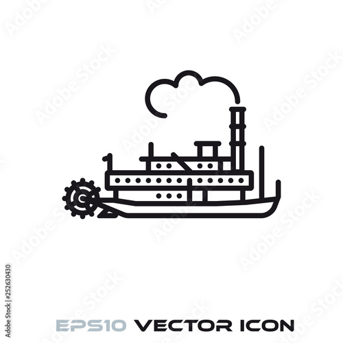 Vintage Steamboat vector line icon Canvas-taulu