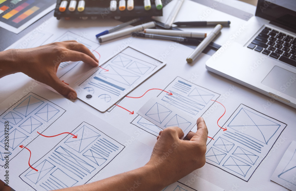 Fototapety, obrazy: ux Graphic designer creative  sketch planning application process development prototype wireframe for web mobile phone . User experience concept.
