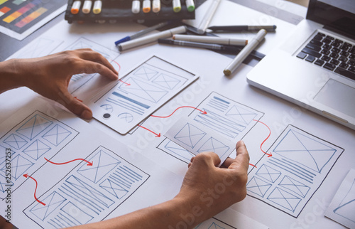 Photo  ux Graphic designer creative  sketch planning application process development prototype wireframe for web mobile phone