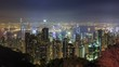 Night aerial view of the Hong Kong skyline with Victoria harbor