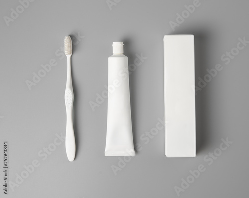 toothbrush with paste and box mock up,top view Wallpaper Mural