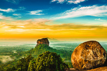 Sunrise View To Sigiriya Rock From Pidurangala Rock In Sri Lanka