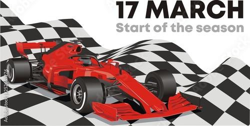 Racing car on the finish flag. Start of the racing season.