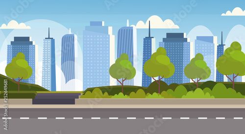 asphalt highway road over city panorama high skyscrapers cityscape background skyline flat horizontal banner