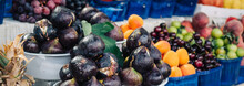 Sunny Day. Fruit And Vegetable Market. Stand With Fresh Fruit, Mostly Figs, In A Market Tirana, Albania
