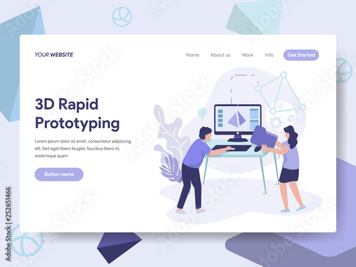 Obraz na plátně Landing page template of 3d Rapid Prototyping Illustration Concept