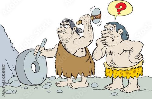 Photo  caveman inventing the wheel - Vector