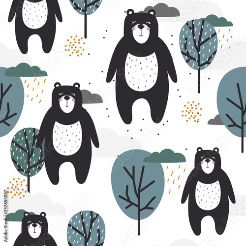 Seamless pattern, bears, trees, hand drawn overlapping backdrop. Colorful background vector. Illustration with animals. Decorative wallpaper, good for printing