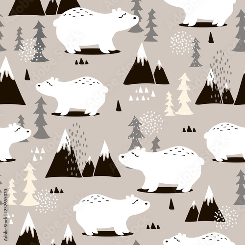 Seamless pattern, bears, fir-trees, mountains, hand drawn overlapping backdrop. Colorful background vector. Illustration with animals. Decorative wallpaper, good for printing