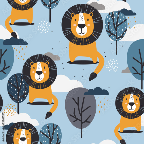 Lions, trees and clouds, hand drawn backdrop. Colorful seamless pattern with animals. Decorative cute wallpaper, good for printing. Overlapping colored background vector